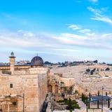 Строб навоза старых города и мечети al-Aqsa Перемещение к Иерусалиму Израиль стоковые изображения rf