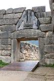 Строб на Mycenae, единственная известная монументальная скульптура льва  стоковые фото