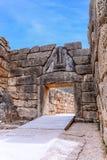 Строб льва на Mycenae, Argolidam Греции Путешествия стоковые фотографии rf