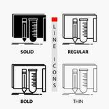 строение, оборудование, сказочное, лаборатория, значок инструментов в тонких, регулярных, смелых линии и стиле глифа r иллюстрация вектора