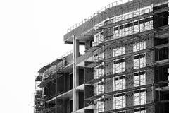 Строительная площадка дома кирпича Дом кирпича строительной конструкции Незаконченная домашняя конструкция Стоковые Фотографии RF