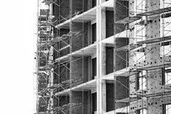 Строительная площадка дома кирпича Дом кирпича строительной конструкции Незаконченная домашняя конструкция Стоковые Фото