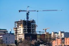 Строительная площадка здания с scaffoldings Стоковые Фотографии RF