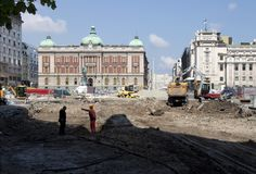 Строительная площадка на квадрате республики в Белграде, Сербии стоковое изображение rf