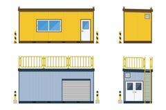 Строительная площадка офиса контейнера с хранением контейнера на белой предпосылке, иллюстрации вектора Стоковые Фотографии RF