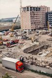 Строительная площадка, строительная техника, бульдозер, раскопк Стоковая Фотография