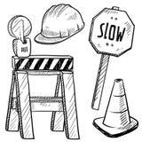 Строительство дорог возражает вектор Стоковые Изображения RF