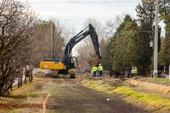 Строительство дорог зимы в Boise Айдахо Стоковые Изображения RF
