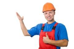 строитель указывая форма вверх Стоковые Изображения RF