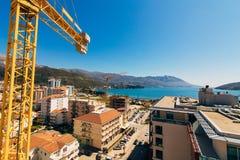 Строительная конструкция Budva Buildi высотного здания крана конструкции Стоковое Изображение RF