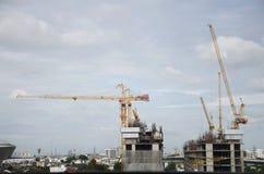 Строительная площадка дела здания в Nonthaburi, Таиланде Стоковые Фотографии RF
