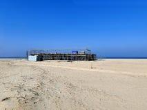 Строительная площадка на пляже строя прогресс Стоковые Фото