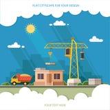 Строительная площадка, строя дом магазин конструкции Плоский st Стоковые Изображения