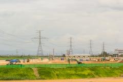 Строительная площадка с силовым кабелем стоковое фото
