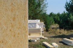 Строительная площадка с штабелированными деревянными панелями стены Стоковые Изображения RF