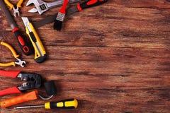 Строительное оборудование на древесине - изображении запаса Стоковое фото RF