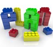 Строительные блоки игрушки слова плана строя стратегию Стоковое Изображение RF