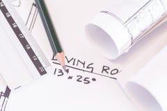 Строительный проект кренов и планов архитектора стоковое изображение rf