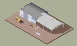 Строительный процесс склада Indusrial Равновеликая иллюстрация конструкции дома Стоковое Фото