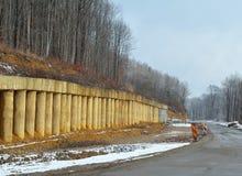Строительство дорог в зиме Стоковое фото RF