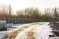 Строительство дорог в зиме Стоковое Изображение RF