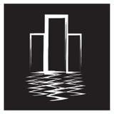 Строить векторов черно-белый на белой предпосылке Стоковые Фотографии RF