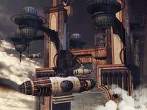 Строить и Зеппелин научной фантастики Стоковые Изображения