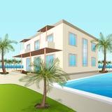 Строить малую гостиницу с морем и пальмами иллюстрация вектора