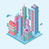 строить равновеликий город дела мегаполиса небоскребы возвышаются современные здания на белом векторе предпосылки Стоковые Фотографии RF