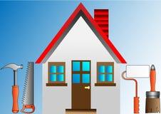 строить украшающ штукатурку ролика дома Стоковая Фотография RF