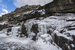 Строка больших морозных сосулек в природе стоковое изображение