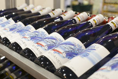 Строка бутылок вина Стоковая Фотография RF