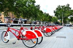 Строка велосипедов в Барселоне, Испании стоковое фото rf