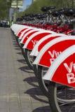 Строка велосипедов в Барселоне Стоковая Фотография