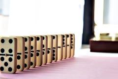 Строка домино на розовой предпосылке Стоковая Фотография RF