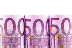 строка евро 500 на белой предпосылке Стоковые Фотографии RF