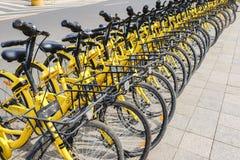 Строка желтых велосипедов, OFO освобождает sloating прокат велосипеда в Китае Стоковые Изображения