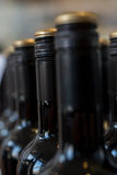 Строка загерметизированных и немеченых бутылок вина или ликера Стоковая Фотография RF