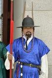 Строка охранников в старых традиционных формах солдата в старой королевской резиденции, Сеуле, Южной Корее Стоковые Фото