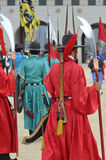 Строка охранников в старых традиционных формах солдата в старой королевской резиденции, Сеуле, Южной Корее Стоковое фото RF