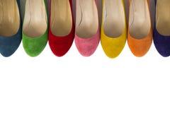 Строка покрашенных кожаных ботинок Стоковая Фотография RF