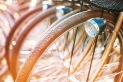 Строка припаркованного года сбора винограда bicycles велосипеды для ренты дальше Стоковое Изображение RF