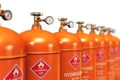 Строка разжиженных контейнеров газа водопода промышленных иллюстрация вектора
