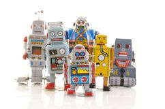 Строка старых роботов олова clockwork Стоковые Фотографии RF
