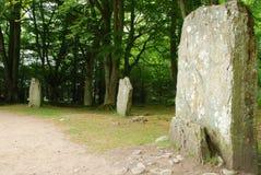 Строка стоящих камней на месте пирамиды из камней Clava Стоковое Изображение