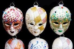 Строка традиционных венецианских маск Стоковые Фото
