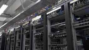 Строка установки горнорабочих bitcoin на связанных проволокой shelfs Компьютер для минирования Bitcoin Штепсельная вилка кабелей  видеоматериал