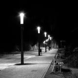 Строка уличных светов в изогнутой и мощенной булыжником улице Стоковые Изображения RF