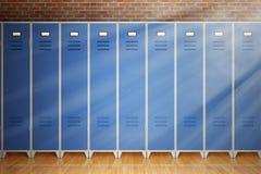 Строка шкафчиков спортзала металла перед кирпичной стеной перевод 3d иллюстрация штока
