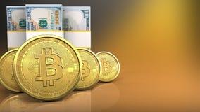 строка bitcoins 3d Стоковое Изображение